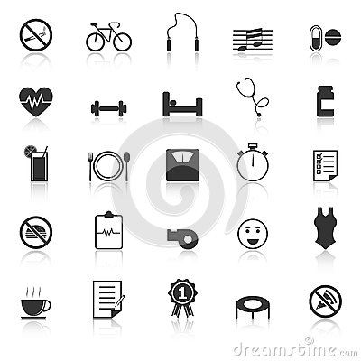 Wellness icons with reflect on white background