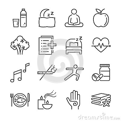 Wellness life line icon set. Included the icons as water, spa, good sleep, exercise, mental health and more. Vector Illustration
