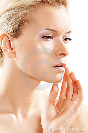 Free Wellness & Skin Care. Pure Female Model Face, Soft Stock Photography - 17913412