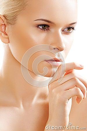 Wellness, skin care. Sensual spa purity face model
