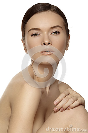 Wellness & spa beauty. Model with clean skin & natural make-up
