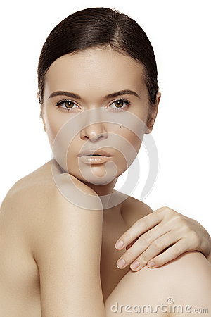 Wellness, spa & health. Gentle model with clean soft skin & natural make-up