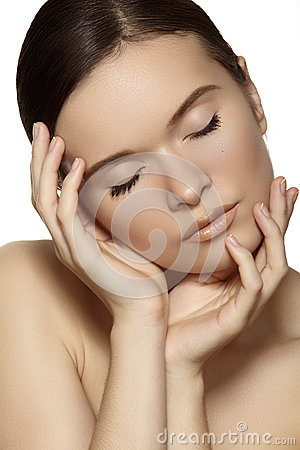 Wellness, spa & health. Gentle model face with clean soft skin & natural make-up