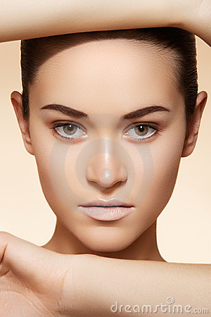Wellness, spa & health. Model face with clean skin