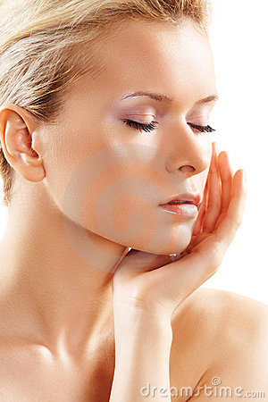 Wellness & spa. Sensual model with clean skin