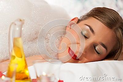 Wellness - woman getting massage in Spa