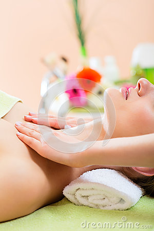 Wellness - woman getting shoulder massage in Spa