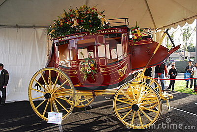 Wells Fargo Bank Horse Carriage float at the 122nd Editorial Photo