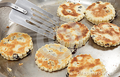 Welsh cakes cooking