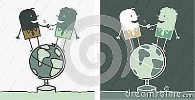 Weltfreundschaft farbige Karikatur