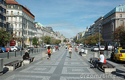 Wenceslas Square in Prague Editorial Image