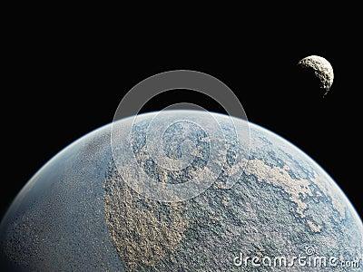 Wereld met kleine maan