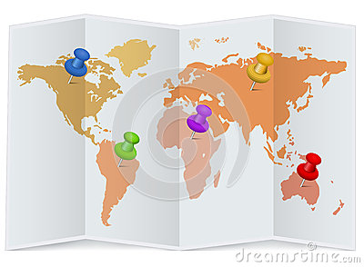 Wereldkaart met multicolored spelden