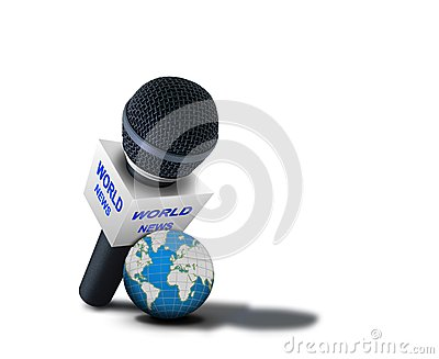 Wereldnieuws die microfoon melden