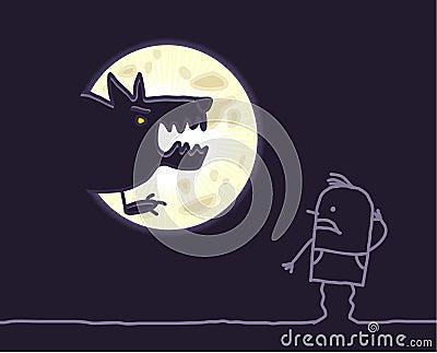 Werewolf & moon
