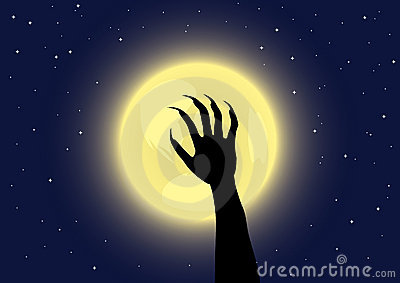 Werewolf s claws on a full moon background