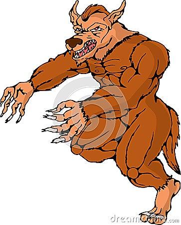 Werewolf wolfman running attacking