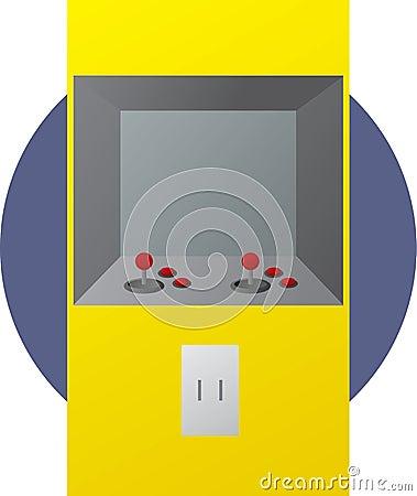 In werking gestelde het videospelletjeillustratie van de arcade muntstuk