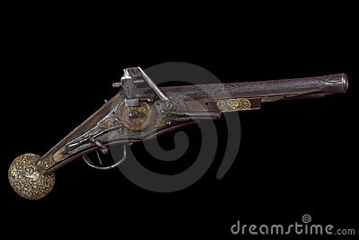 West European flint gun of the 17th century.