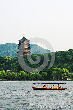 West Lake in Hangzhou Editorial Stock Photo