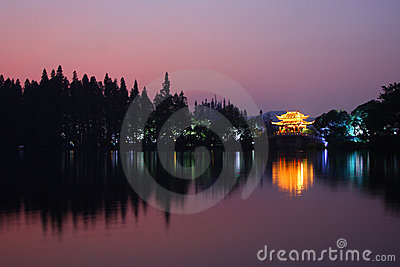 West lake in sunset
