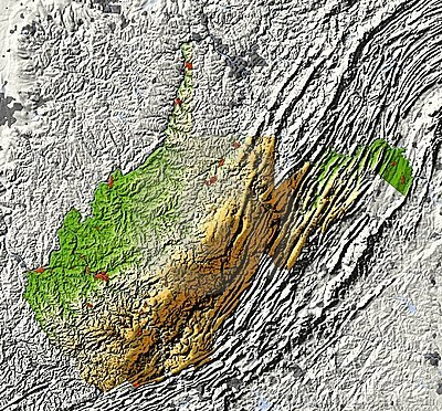 West Virginia. Shaded relief map