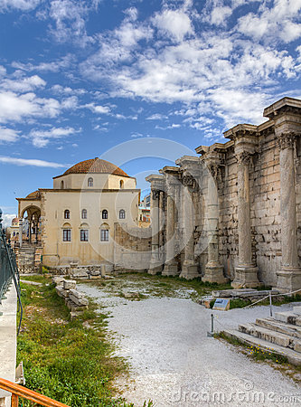 West wall of the Library of Hadrian, Athens