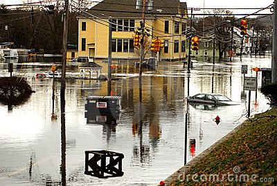 West Warwick Rhode Island devastated by floods Editorial Photo