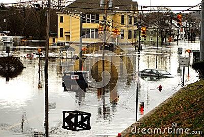 West Warwick Rhode Island devastated by floods Editorial Photo