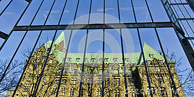 West Wing of Parliament Buildings Reflected