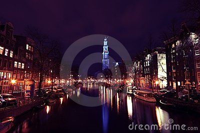 Westerkerk canal night