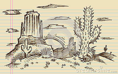 Western Cartoon Landscape Sketch