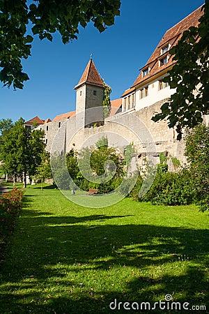 Western city wall in Rothenburg ob der Tauber