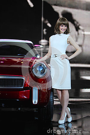 Western girl in auto show Editorial Photo