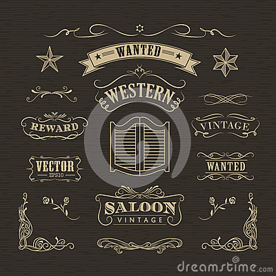Free Western Hand Drawn Banners Vintage Badge Stock Photos - 66507633