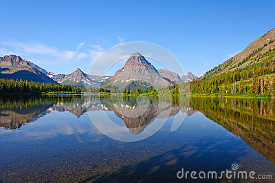 Western lake and Mountains in Early Morning