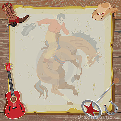 Free Western Rodeo Cowboy Party Invitation Royalty Free Stock Photos - 23766638