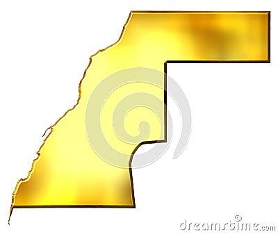 Western Sahara 3d Golden Map