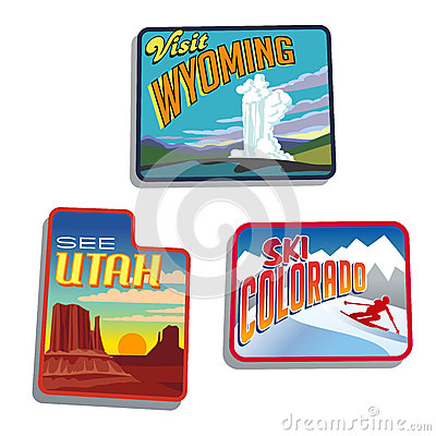 Western United States Utah Colorado Wyoming  illustrations designs
