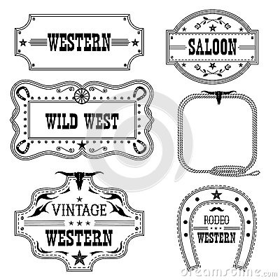 Free Western Vintage Labels Isolated On White For Design Stock Images - 67171324