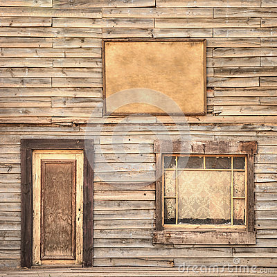 Free Western Vintage Wooden Facade Background. Door, Window And Blank Board Stock Photos - 34195753