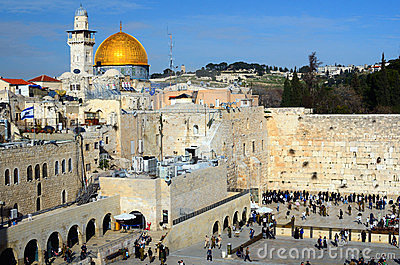 Western Wall and Dome of the Rock Editorial Stock Photo