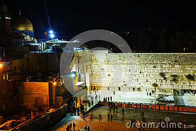 The Western Wall in Jerusalem, Israel in the night Editorial Stock Image