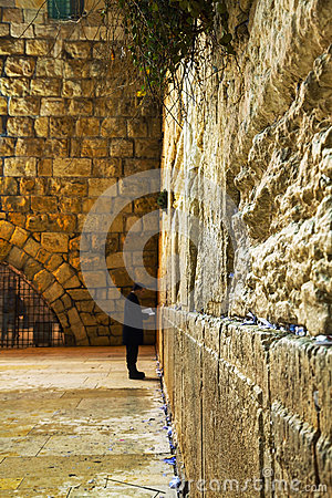 The Western Wall in Jerusalem, Israel in the night Editorial Stock Photo
