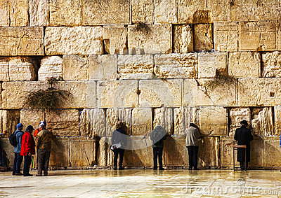 The Western Wall in Jerusalem, Israel in the night Editorial Image