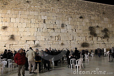 Western Wall at night Editorial Stock Image
