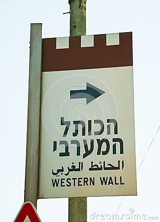 Western Wall sign in Jerusalem