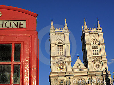 Westminster Abbey and London phone box
