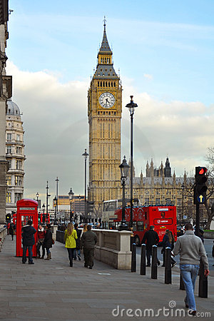 Westminster: Big Ben and Parliament view, London Editorial Stock Image