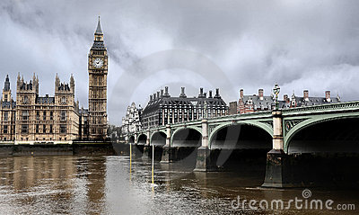 Westminster Bridge with Big Ben in London
